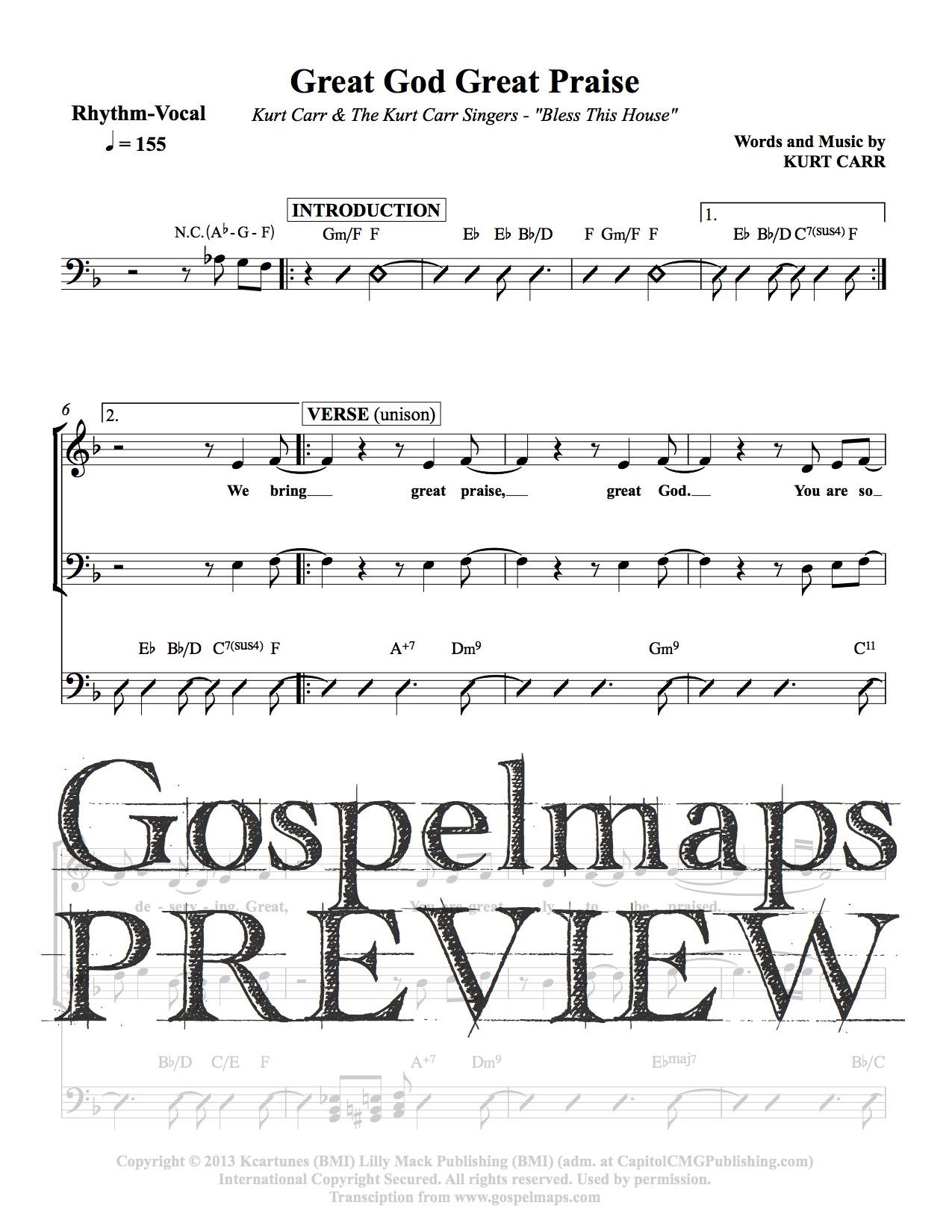 Gospelmaps great god great praise kurt carr the kurt for Vocal house music charts