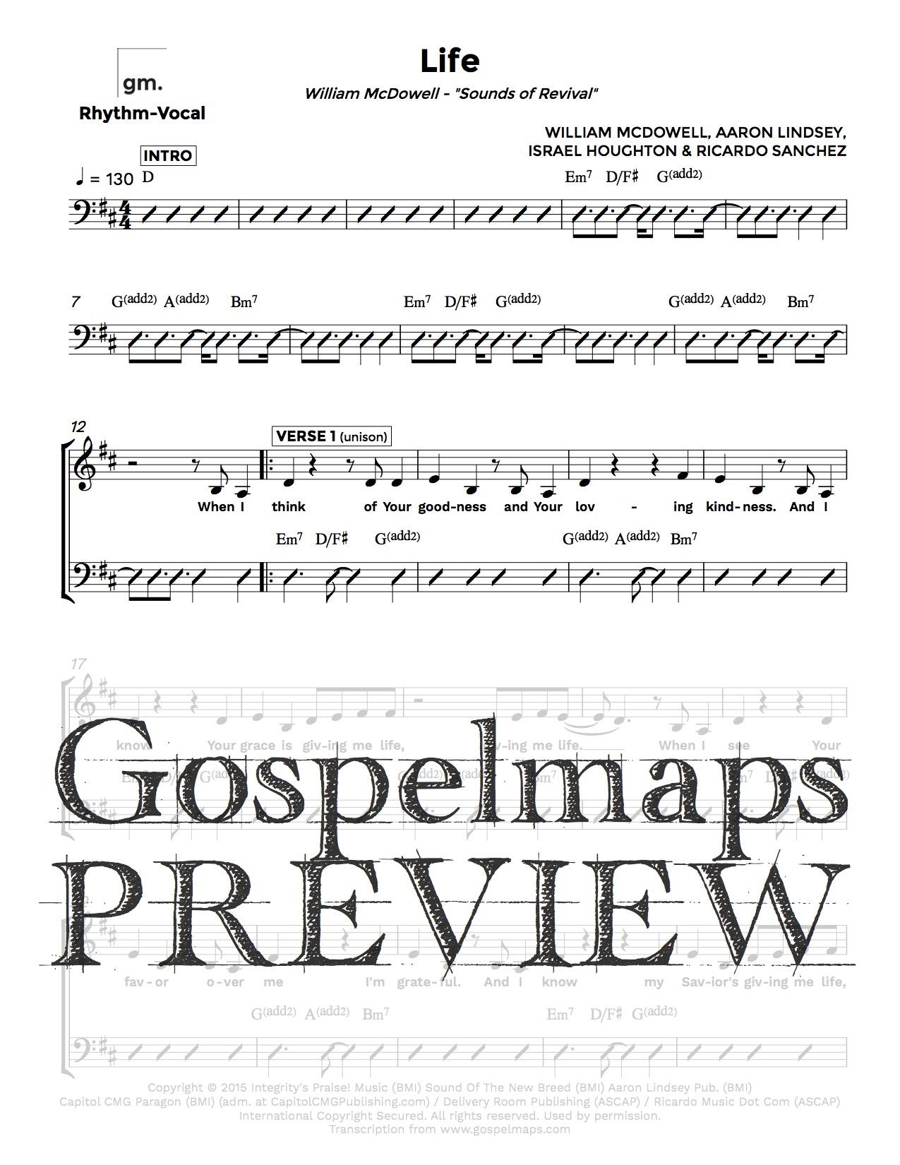 Gospelmaps Life William Mcdowell Rhythm Vocal And Chord