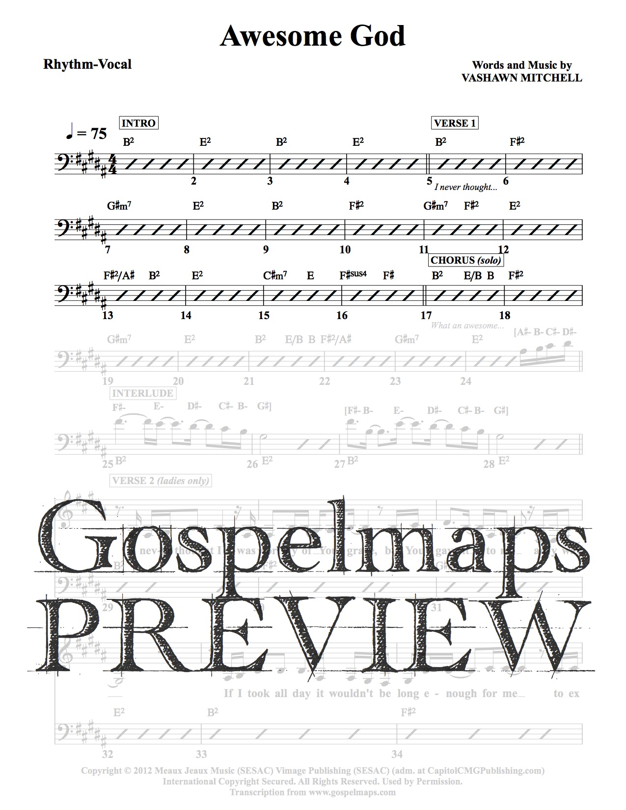 gospelmaps awesome god vashawn mitchell rhythm vocal and chord chartsgospelmaps rhythm. Black Bedroom Furniture Sets. Home Design Ideas