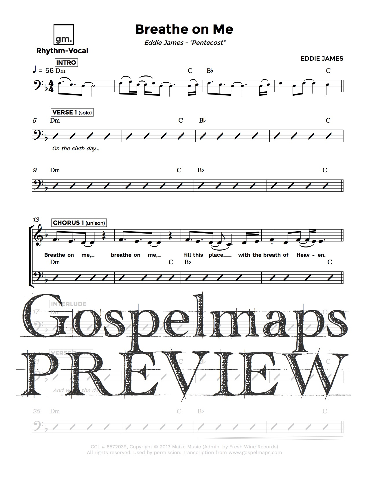 Gospelmaps Breathe On Me Eddie James Rhythm Vocal And Chord