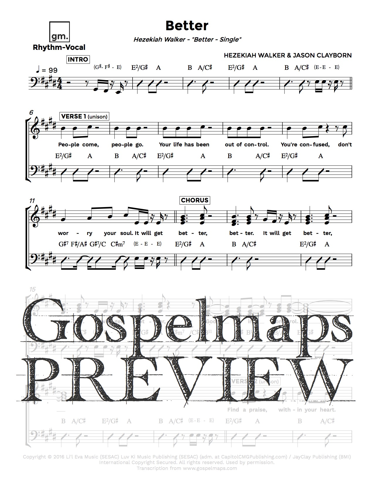 Gospelmaps Better Hezekiah Walker Rhythm Vocal And Chord