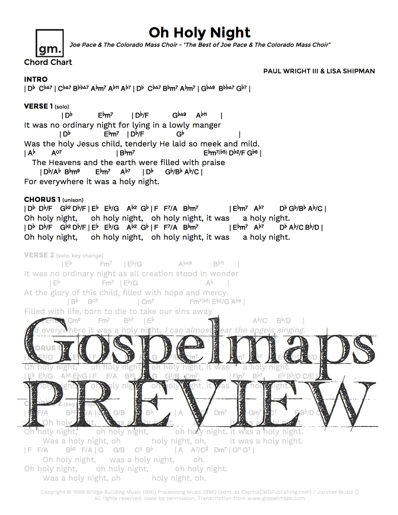 Gospelmaps oh holy night joe pace rhythm vocal and chord previous next hexwebz Choice Image